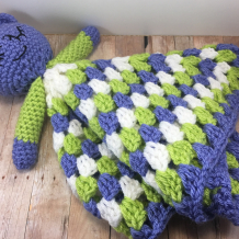 Crochet Mouse Lovey (Security Blanket), Purple, Green and White